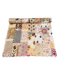 Bedspread Suitable For Men And Children Kantha Quilt : Indian Handmade Floral Kantha Quilt Throw Embroidered Women