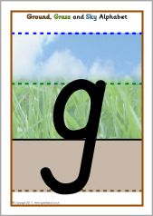 cursive letters l ground grass and sky handwriting alphabet posters 6309