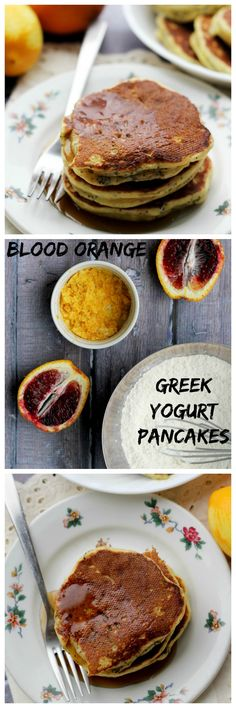 These blood orange Greek yogurt poppyseed pancakes are full of bright citrus flavor and lots of protein from the yogurt, making them a healthy breakfast treat!