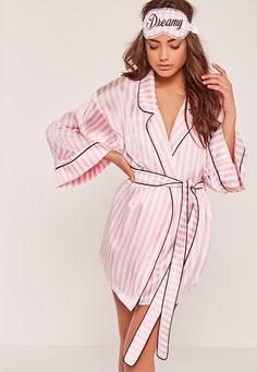 Missguided - Pink Dreamy Striped Silk Robe robe Women's Sleepwear - Sleep Wear for Women Sexy Lingerie, Jolie Lingerie, Luxury Lingerie, Seductive Lingerie, Kimono Satin, Pink Silk Robe, Satin Pyjama Set, Satin Pajamas, Pyjamas