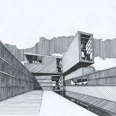 // Pinned by Ellen Rus. Studios Architecture, Modern Architecture House, Architecture Drawings, Beautiful Architecture, Architecture Design, Building Drawing, Building Sketch, Perspective Drawing Lessons, Interior Design Sketches