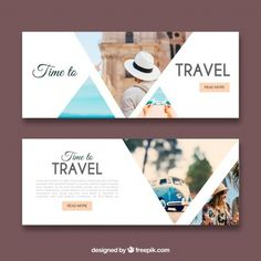 Travel banners with photography – Liza Page – Design Layout Design, Ad Design, Flyer Design, Exhibit Design, Booth Design, Banner Design Inspiration, Web Banner Design, Web Banners, Travel Brochure Design