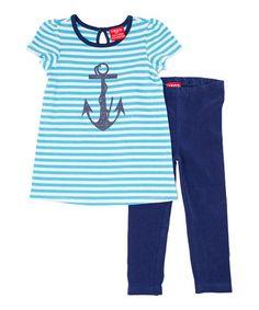 Look at this #zulilyfind! Cyan Stripe Anchor Top & Blue Leggings - Infant & Toddler by IZOD #zulilyfinds