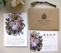 Country Flower Wedding Invitation Set