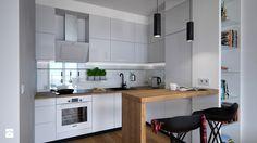 Współczesne mieszkanie - 40 m² - Mała otwarta kuchnia w kształcie litery l jednorzędowa w aneksie, styl nowoczesny - zdjęcie od Doliwa Workshop