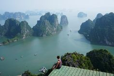 View over Halong Bay from Bai Tho Mountain, Halong City, Northern Vietnam