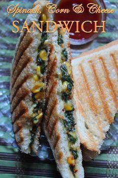YUMMY TUMMY: Grilled Corn, Spinach & Cheese Sandwich Recipe - Sweet Corn & Spinach Sandwich Recipe