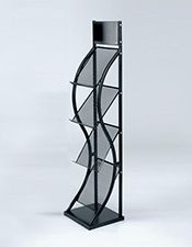 extra large display surfaces on this stylish curvy stand Brochure Stand, Table Lamp, Company Logo, Display, Black And White, Literature, Curvy, Stylish, Simple