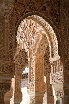 Alhambra, Granada, Spain - Hubby worked in Spain. I got to see a lot of Spain, including this Alhambra. Islamic Architecture, Beautiful Architecture, Beautiful Buildings, Art And Architecture, Architecture Details, Beautiful Places, Places Around The World, Oh The Places You'll Go, Places To Travel