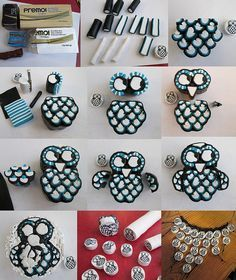 Owl cane tutorial. A picture tutorial for polymer clay millefiori owl cane.