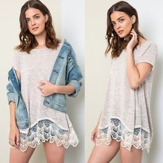 🆕SAVANNAH Lace Trim Soft Tee - LATTE Lace Trim Soft Tee. Available in LATTE, peach & sky blue. Pls see pic 4 for the actual colors!  Fabric 65% RAYON 35% POLYESTER🚨PRICE FIRM🚨 Bellanblue Tops Blouses