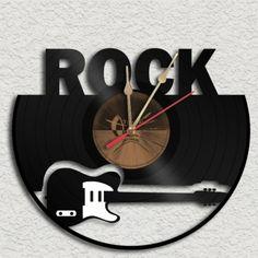 Rock Theme  Vinyl Record Clock Recycled. #records #vinyl #clock http://www.pinterest.com/TheHitman14/music-paraphenalia/