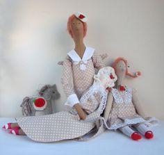 Fabric Doll Family Angel, Gift, Handmade Dolls beige white polka dots dress, Lovely home, nursery decor, cute textile dolls, Christmas gift