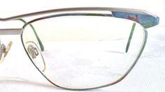 64c6f59625b Items similar to Enrico Coveri Italy NOS Eyeglasses Sunglasses Silver Wire  Rim Aviator 59-15 Vintage cateye Blue Marbled Metal Womens New Unused  Vintage on ...