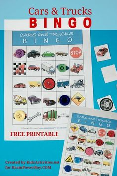Fun game for vehicle lovers! This free printable cars and trucks bingo game will be a hit with kids who are crazy for things on wheels. Click picture to download your free bingo game today.