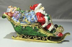 New Trinket Box Gift Painted Crystals Santa Christmas Holidays