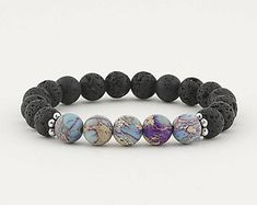 lava bead bracelet, essential oil, diffuser bracelet, jasper, stretch bracelet, essential oil bracelet, jewelry, aromatherapy, yoga, boho