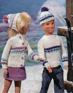 KNITTING PATTERN MAKE VINTAGE SINDY BARBIE PAUL KEN DOLLS CLOTHES CARDIGAN | eBay