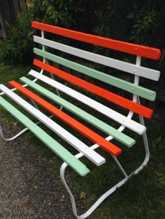VINTAGE 1950's RETRO TIMBER SLATTED BENCH / SEAT