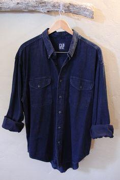 Vintage GAP Mens Dark Blue Denim Button Up Shirt by TheBlackVinyl, $35.00  #menswear #spring #denim shirt