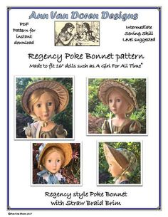 """Regency Style Poke Bonnet Pattern made to fit 16"""" dolls such as A Girl For All Time®"""