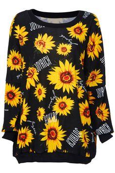 ROMWE | Sunflowers Print Black Sweatshirt, The Latest Street Fashion