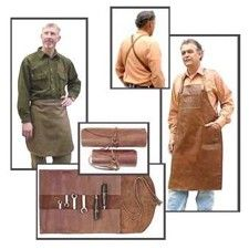 Leather work aprons and tool rolls, perfect gifts for that manly man in your life! Made in USA!