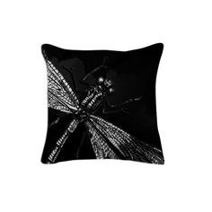Dragonfly II, Pillow 1 from Print All Over Me  #black #art #vintage #dragonfly #animals #insects #blackandwhite #goth #piaschneider #ateliercolourvision #paom #pillow #cotton #artprint #cushion #home #decor #designerpillow #gift #giftidea