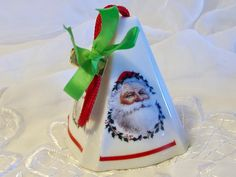 Santa Pomander, St Nicholas Ornament, Christmas Tree Decor, Closet Sachet, Room Freshener, Porcelain Potpourri Container