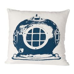 Cricket Radio - Montauk Diving Helmet Pillow, Oyster/Navy - A vintage diver's helmet makes a quirky, unique print for this contemporary thro...