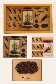 € 40,00 su www.misshobby.com Quadro con nodi marinari fatti a mano, cornice fatta a mano con decoupage centrale di antico veliero, tutto applicato su base in legno.