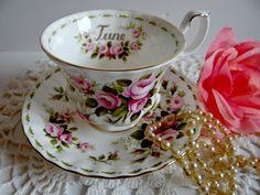 "Vintage Royal Albert ""June"" Roses Teacup & Saucer Set by TimelessTreasuresbyM on Etsy"