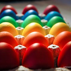 Rainbow of Eggs: food color ratios to get super bright colors
