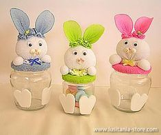 Easter Projects, Easter Crafts For Kids, Easter Gift, Easter Bunny, Easter Eggs, Bunny Crafts, Easter Printables, Decorated Jars, Craft Show Ideas