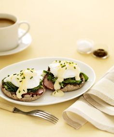 We lightened this rich recipe with a lemony white sauce and bumped up the fiber with spinach and whole wheat muffins. Mom will thank you! Recipe: Eggs Benedict   - Delish.com
