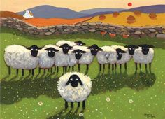 We're Right Behind Ewe Reminds me of those wee cross stitch kits we saw in Ireland! Illustrations, Illustration Art, Baa Baa Black Sheep, Sheep Crafts, Sheep Art, Arte Country, Sheep And Lamb, Counting Sheep, Naive Art