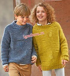 Для мальчика и девочки 8-12 лет. Пуловер с узором из спущенных петель. Вязание спицами для детей