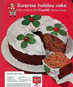 Treat yourself to a little tomato soup fruit cake for a very retro Christmas … - Suppe Retro Recipes, Old Recipes, Vintage Recipes, Cake Recipes, Dessert Recipes, Frosting Recipes, Baking Recipes, Recipies, Tomato Soup Cake