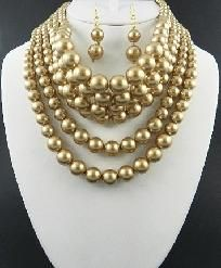 Pearls - Beige Multi Strands Necklace and Earring Set - Free Shipping  http://yardsellr.com/for_sale#!/pearls---beige-multi-strands-necklace-and-earring-set---free-shipping-2497900
