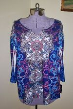 "NWT Womens Plus Sz 1X Style & Co. Shirt Blouse Top Soft Polyester 48"" Bust Bling"