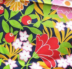 1960s Vintage Cotton Fabric  MOD Navy Floral Print by SelvedgeShop, $14.00