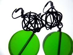 Items similar to Earrings, made with black steel wire and green resin by Bolder and Beautiful for Etsy on Etsy Jewelery, Resin, Wire, Steel, Earrings, Etsy, Beautiful, Black, Jewelry