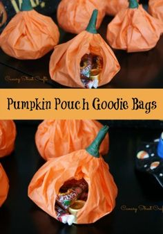 Easy and inexpensive DIY pumpkin pouch goodie bags made from tissue paper!