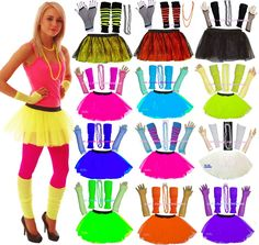 NEON TUTU SKIRT SET  & NECKLACE 80 s FANCY DRESS