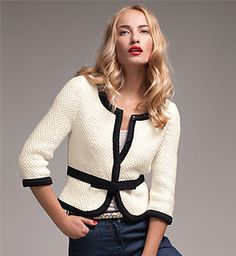 "Use ""Jacket No. 481"" pattern on Ravelry. Pretty with A-line skirt, or tapered skirt with flare near bottom hem"
