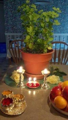 Diwali Decorations At Home, Festival Decorations, Flower Decorations, Mandir Decoration, Ganapati Decoration, Rangoli Designs Diwali, Diwali Rangoli, Tulasi Plant, Tulsi Vivah