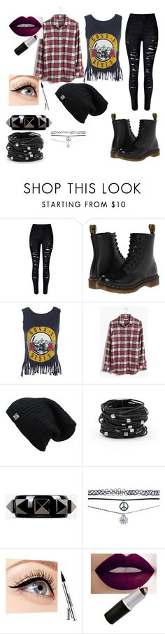 """""""Guns N Roses"""" by freespirit1177 ❤ liked on Polyvore featuring Dr. Martens, Madewell, Chico's, Valentino, Wet Seal and Luminess Air"""