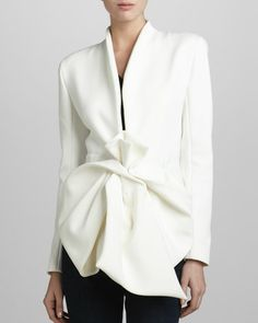 Crepe Bow-Waist Jacket by Donna Karan at Neiman Marcus. On Sale NOW