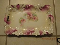 Vintage RS Prussia Tray Pierced Handles Pink Feather Porcelain Vanity #RSPrussia