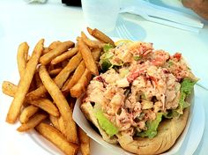 Lobster Roll with Fries from the Bayville Marina Clam Bar (Bayville, Long Island, NY)